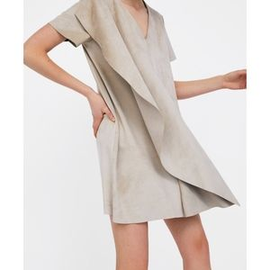 Zara Faux Suede V-neck Dress - Cream - Large